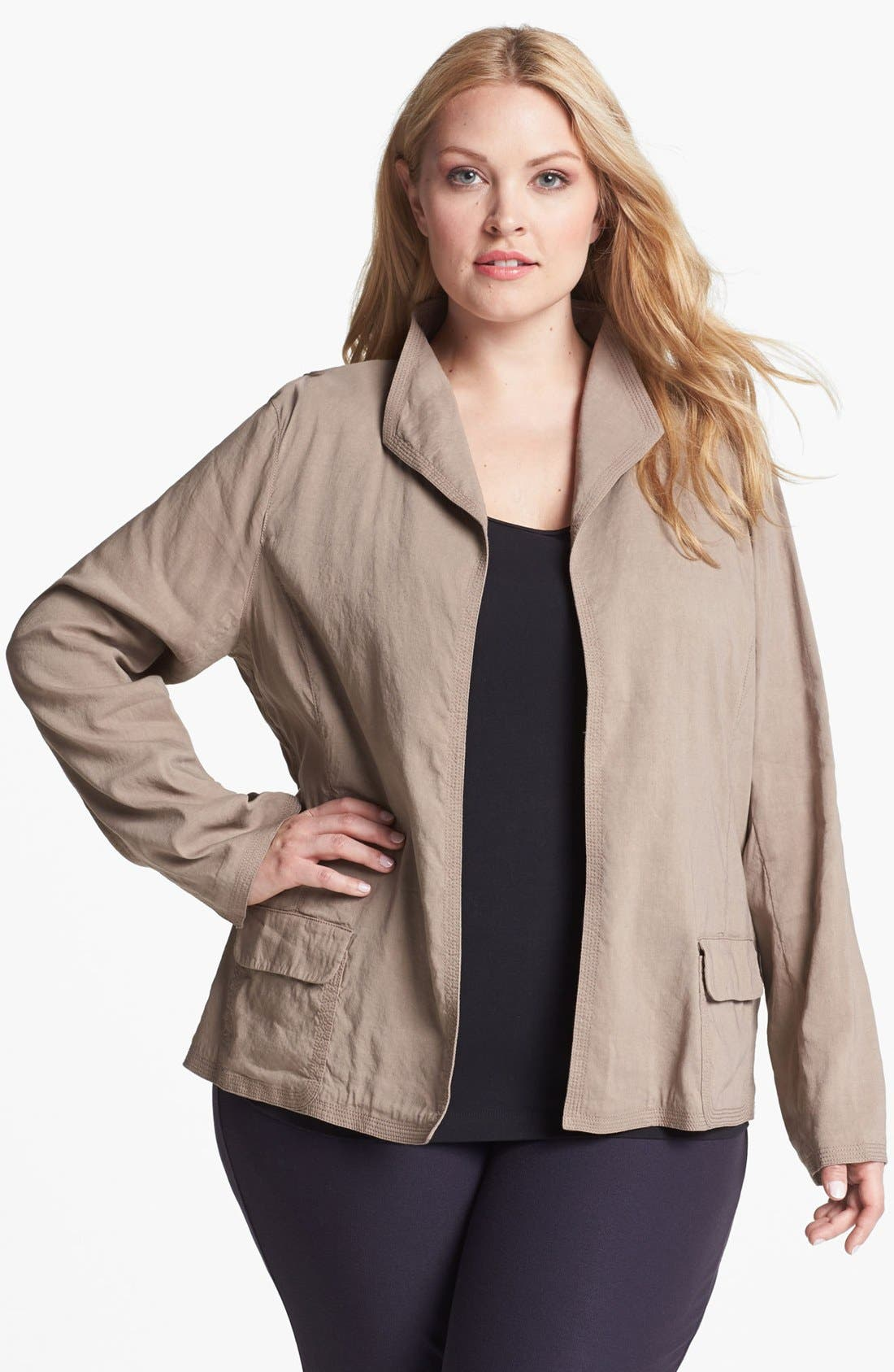 Main Image - Eileen Fisher Stand Collar Jacket (Plus Size)