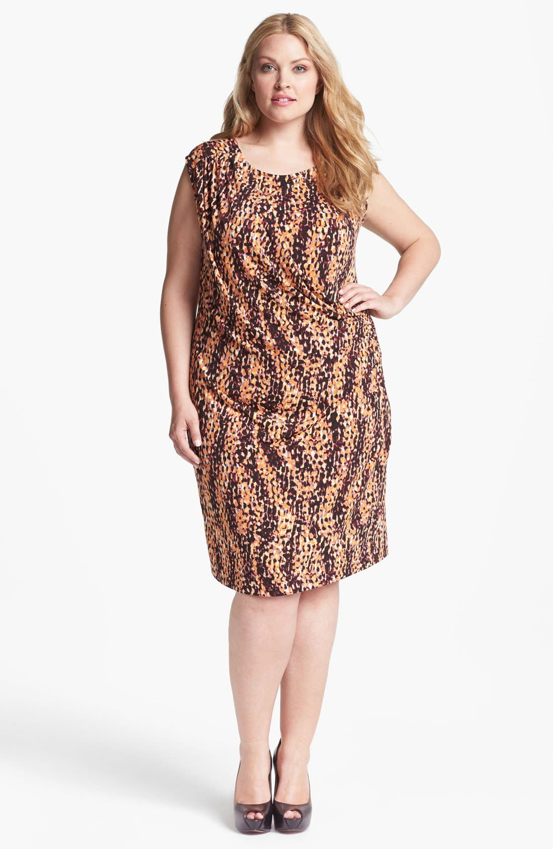 Main Image - Anne Klein Scale Print Jersey Dress (Plus Size)