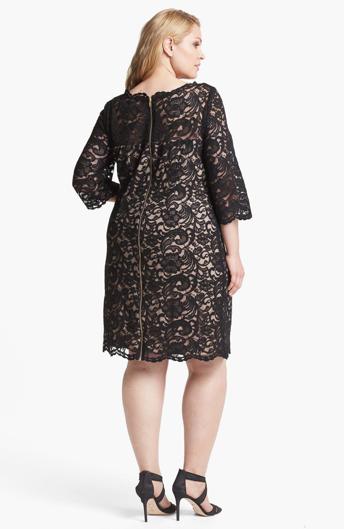 Alternate Image 2  - Xscape Lace Shift Dress (Plus Size)