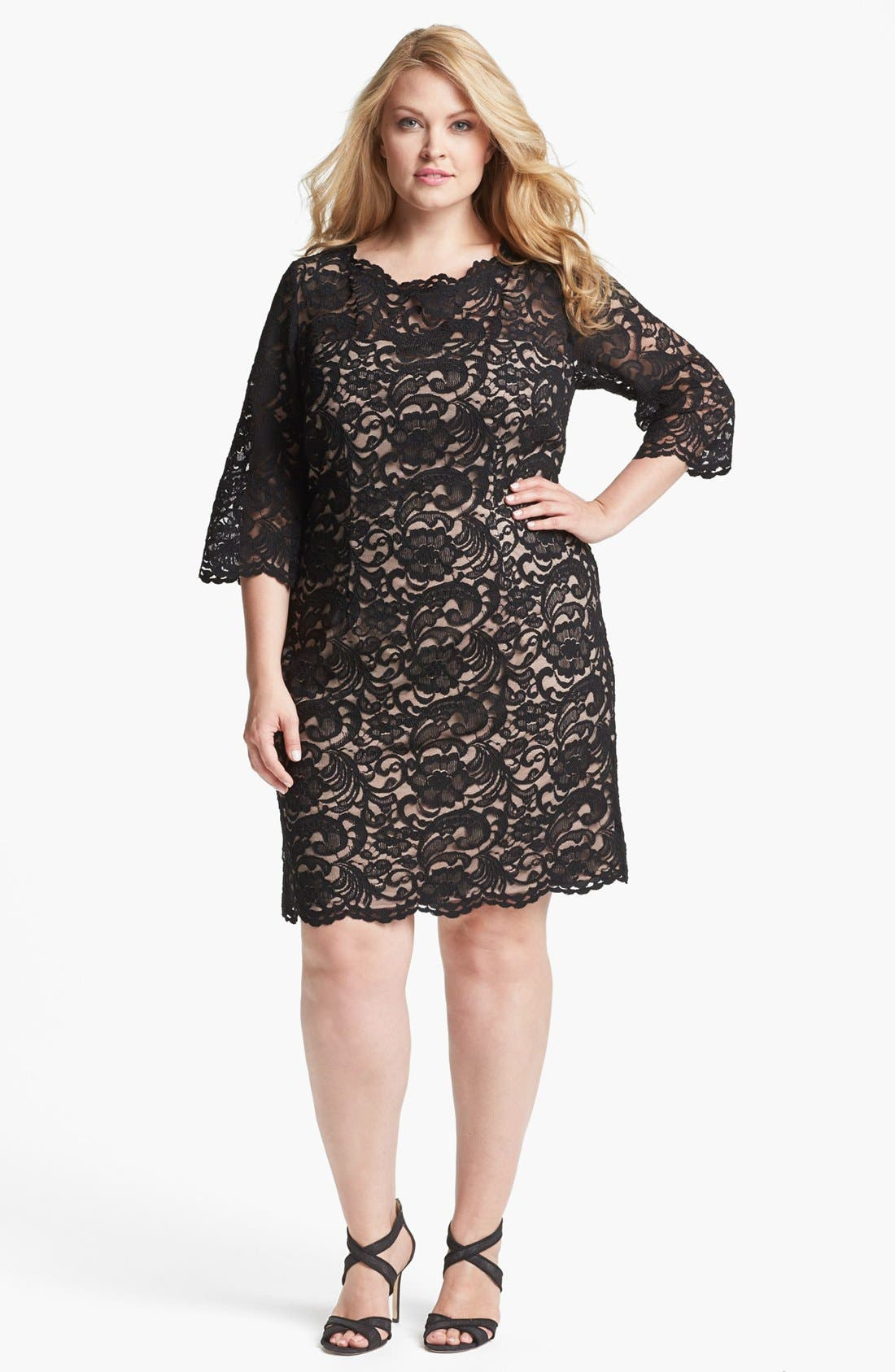 Alternate Image 1 Selected - Xscape Lace Shift Dress (Plus Size)