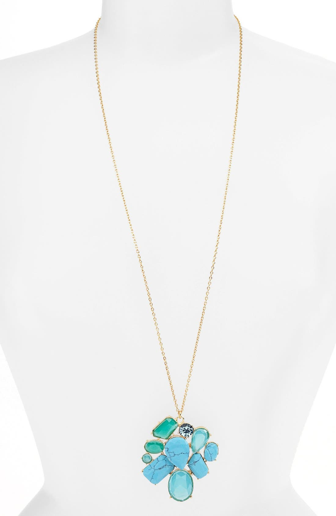 Alternate Image 2  - kate spade new york 'crystal fiesta' long stone cluster pendant necklace
