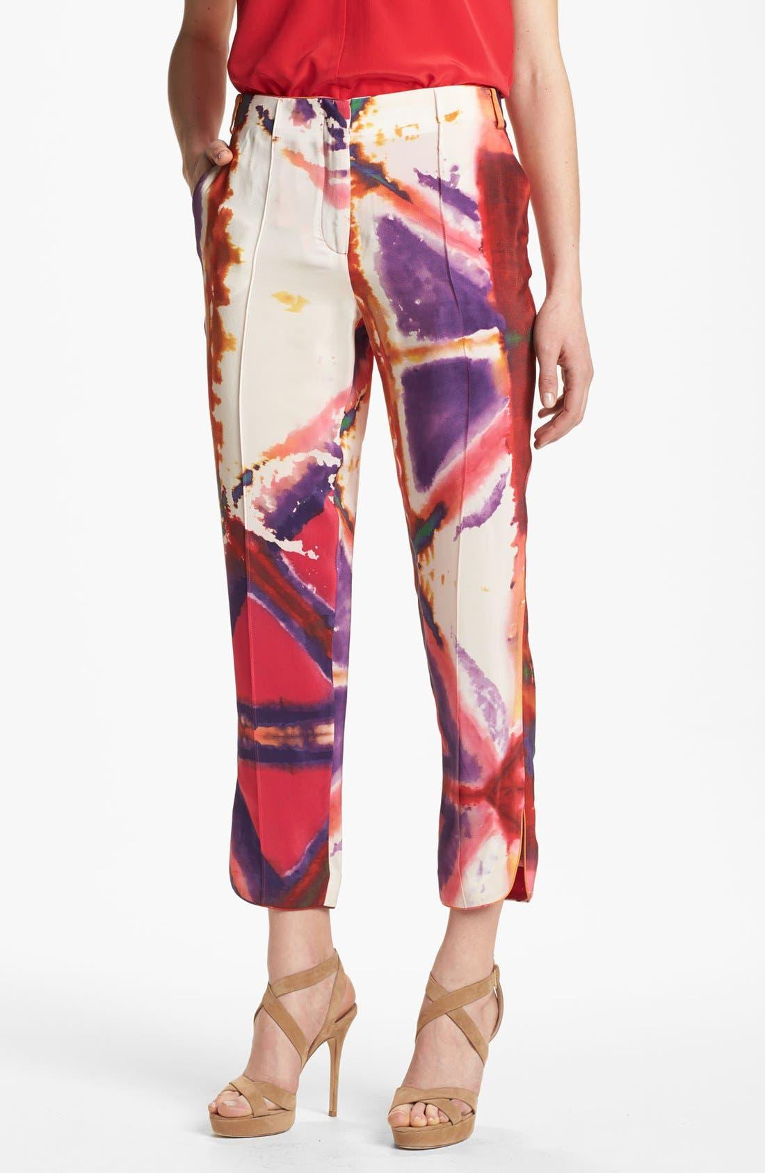 Main Image - Rachel Roy 'Painted Illusion' Crop Silk Pants