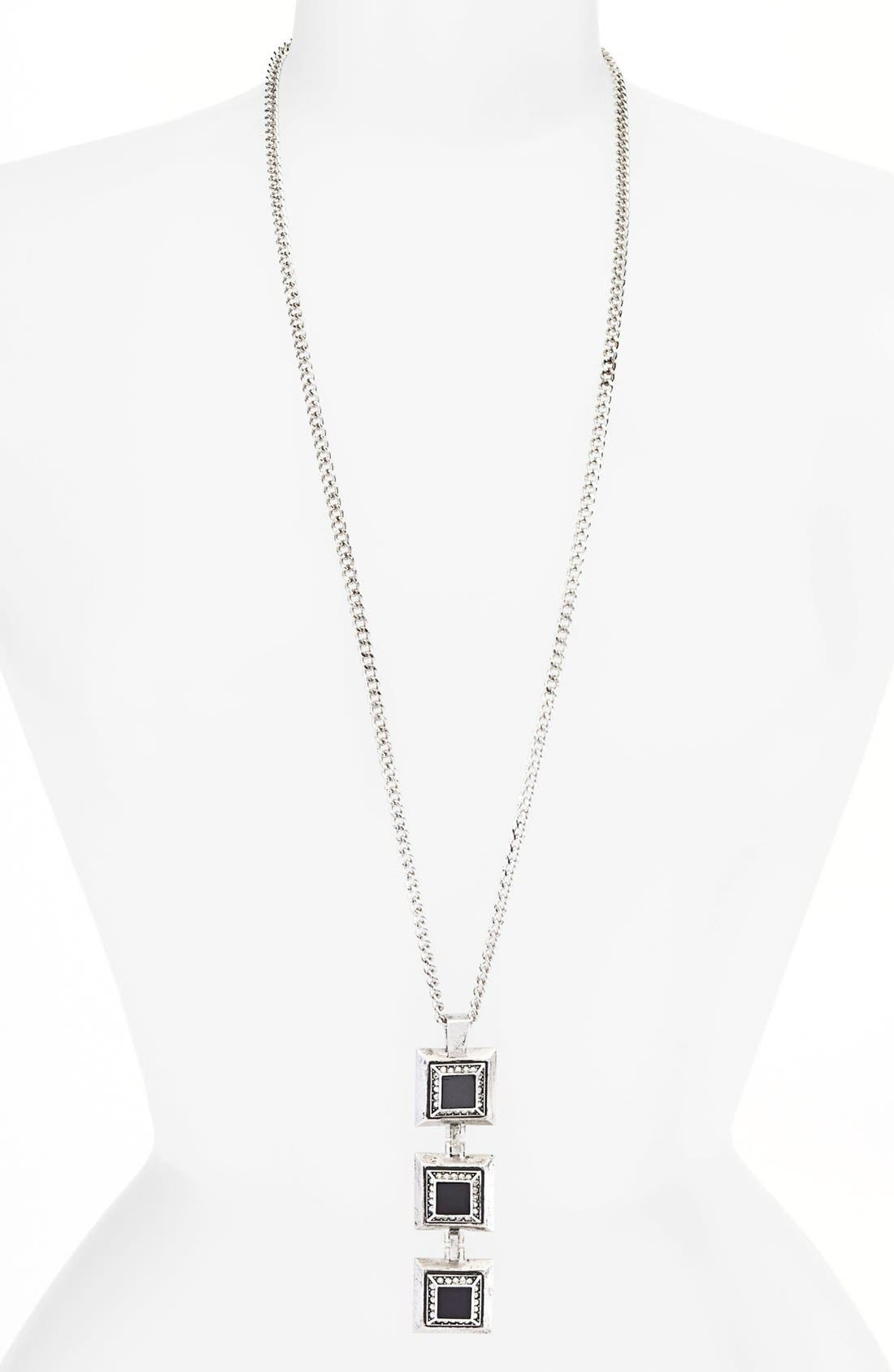 Alternate Image 1 Selected - St. John Collection Square Glass & Crystal Long Pendant Necklace