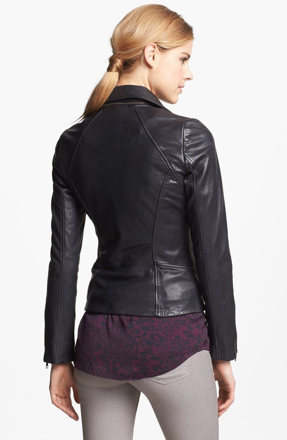 Alternate Image 2  - Soia & Kyo Zip Collar Leather Jacket
