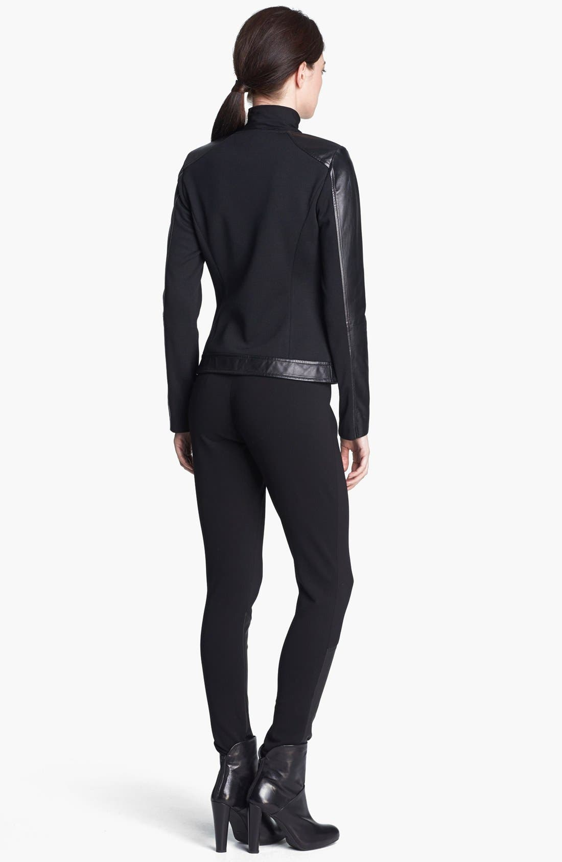 Alternate Image 4  - St. John Collection Leather Accent Ponte Knit Leggings