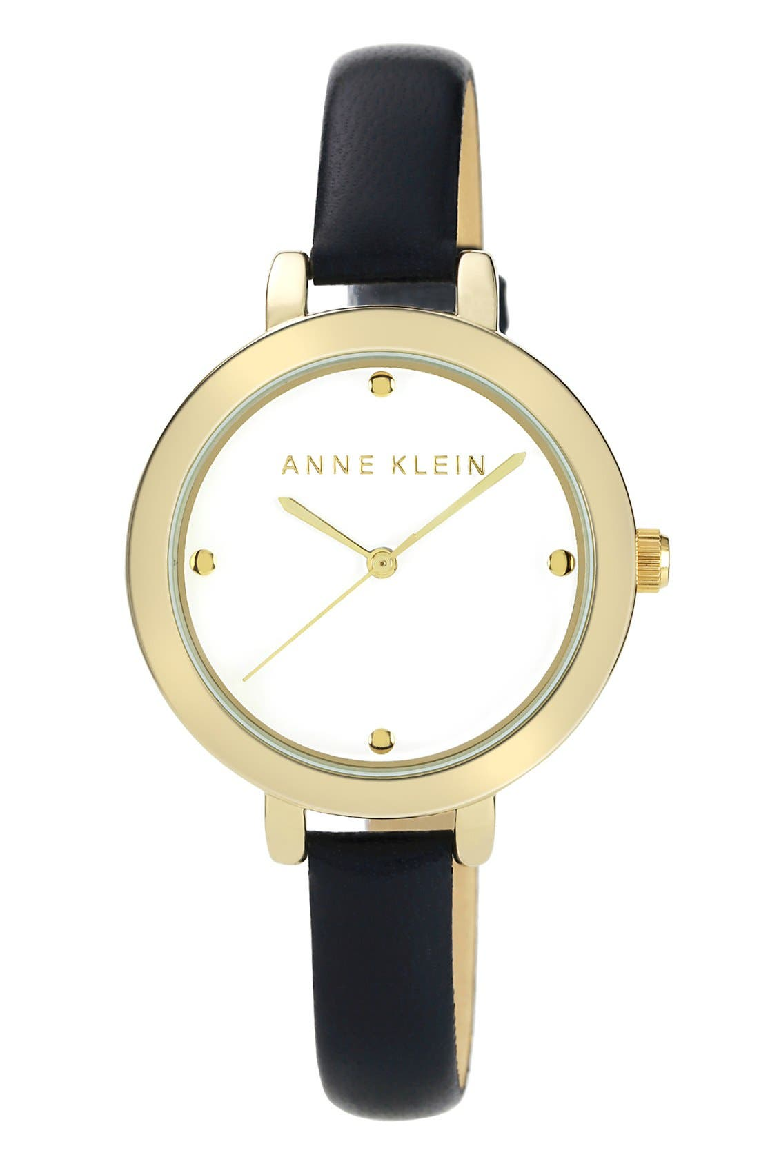 Main Image - Anne Klein Round Leather Strap Watch, 36mm