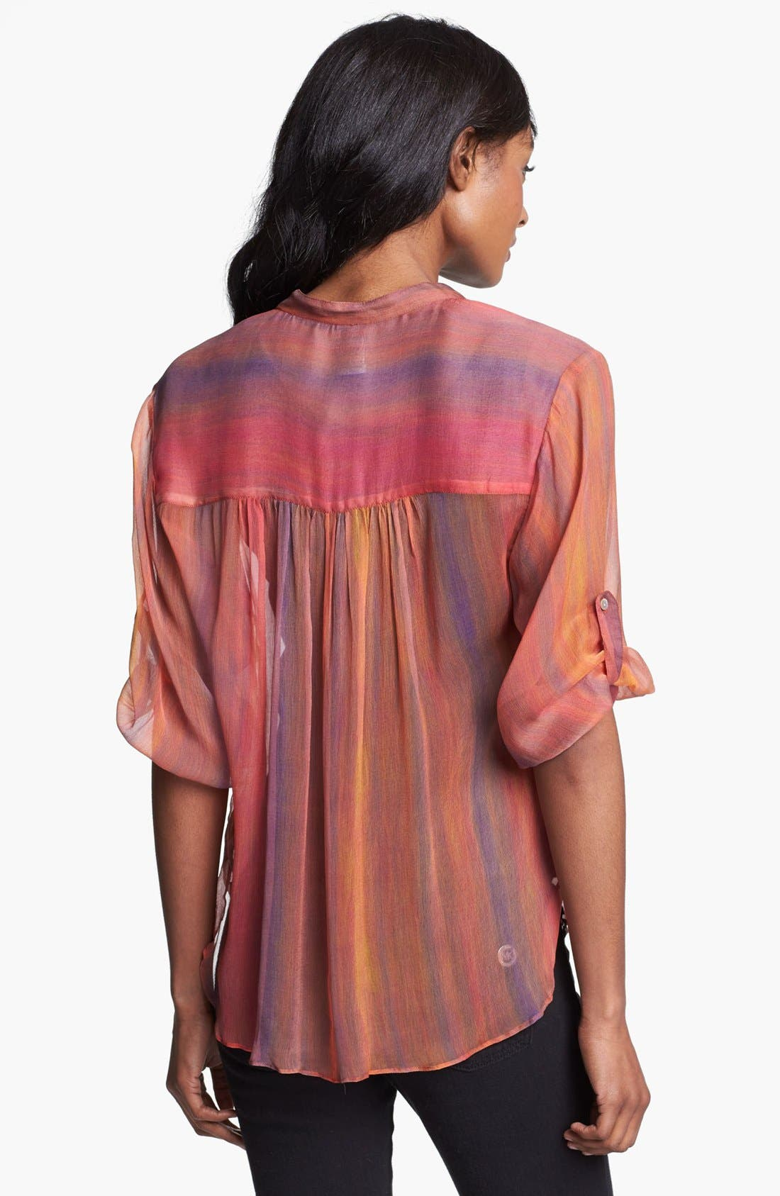 Alternate Image 2  - Casual Studio Roll Sleeve Sheer Blouse