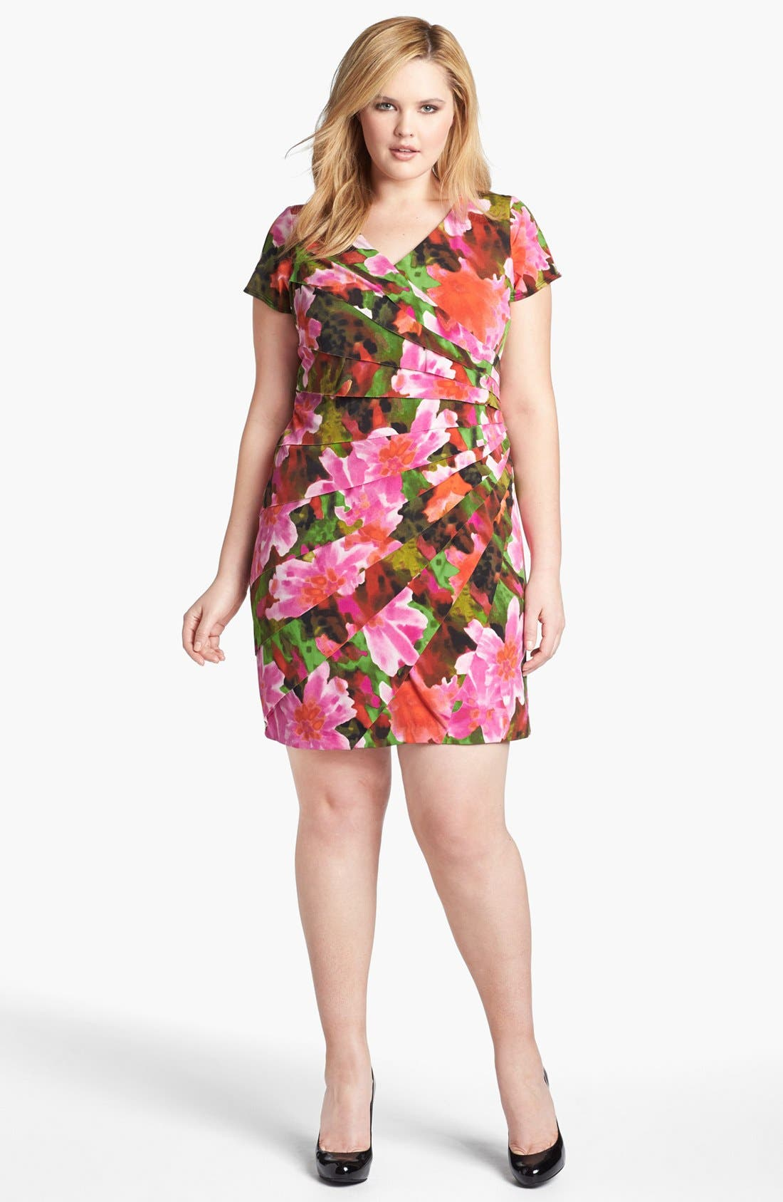 Main Image - London Times 'Starburst' Print Sheath Dress (Plus Size)