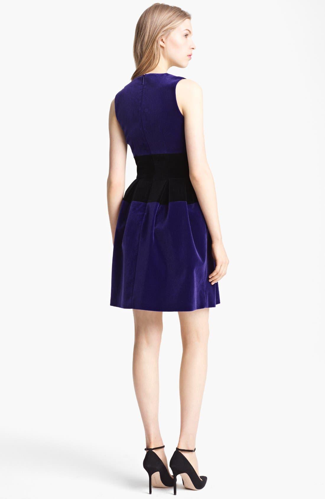 Alternate Image 2  - Christopher Kane Full Skirt Bicolor Velvet Dress