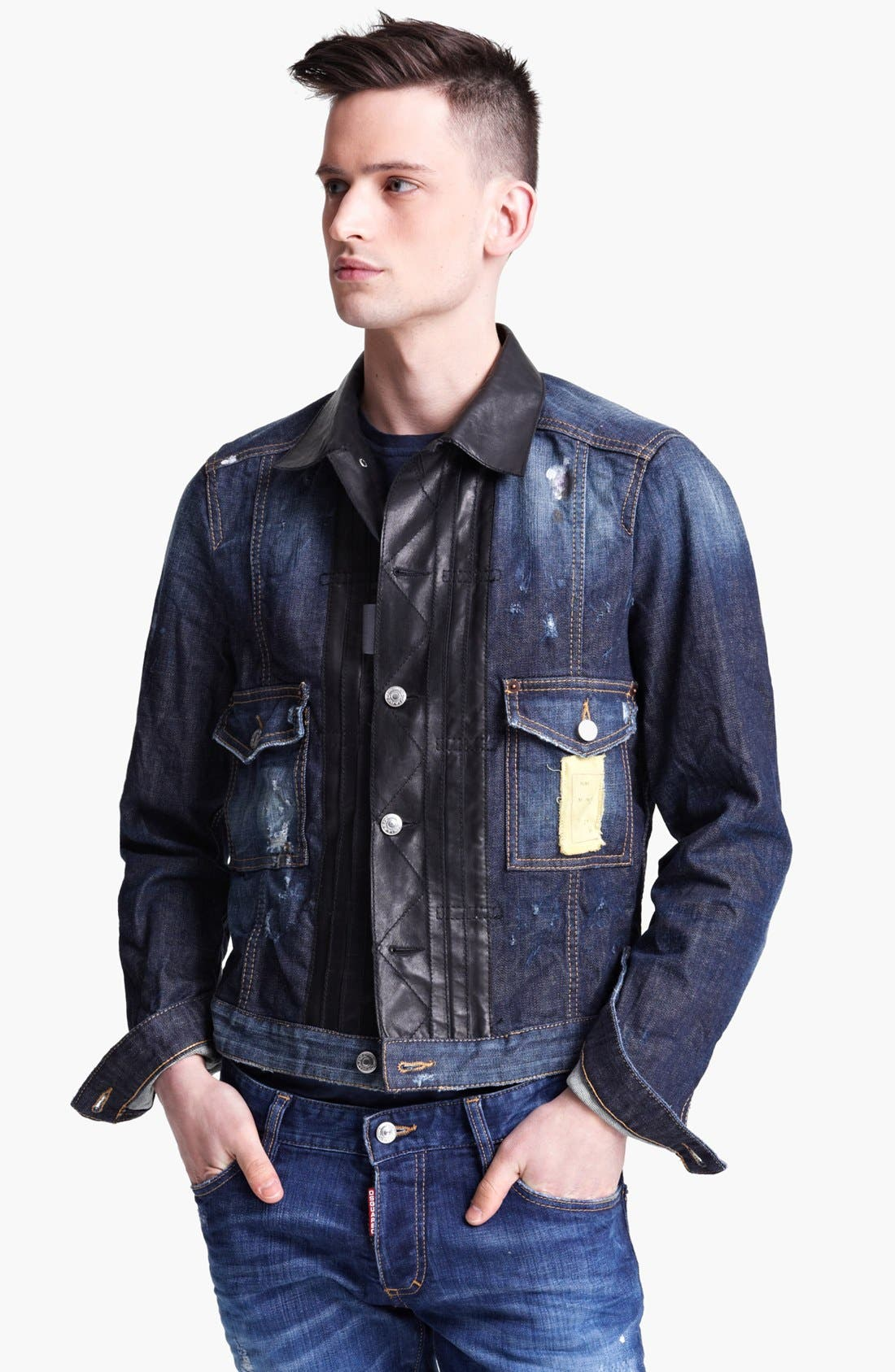 Alternate Image 1 Selected - Dsquared2 Denim Jacket with Leather Trim