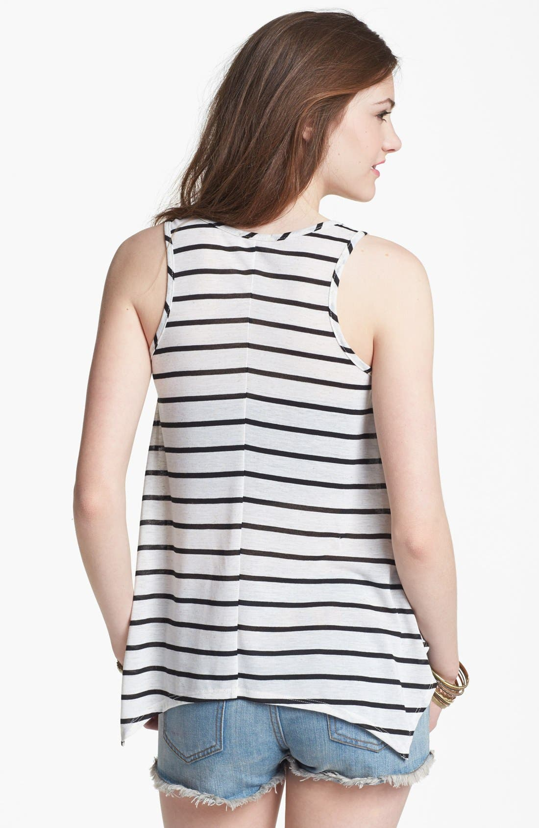 Alternate Image 2  - Mary Jane Appliqué Stripe Tank (Juniors) (Online Only)