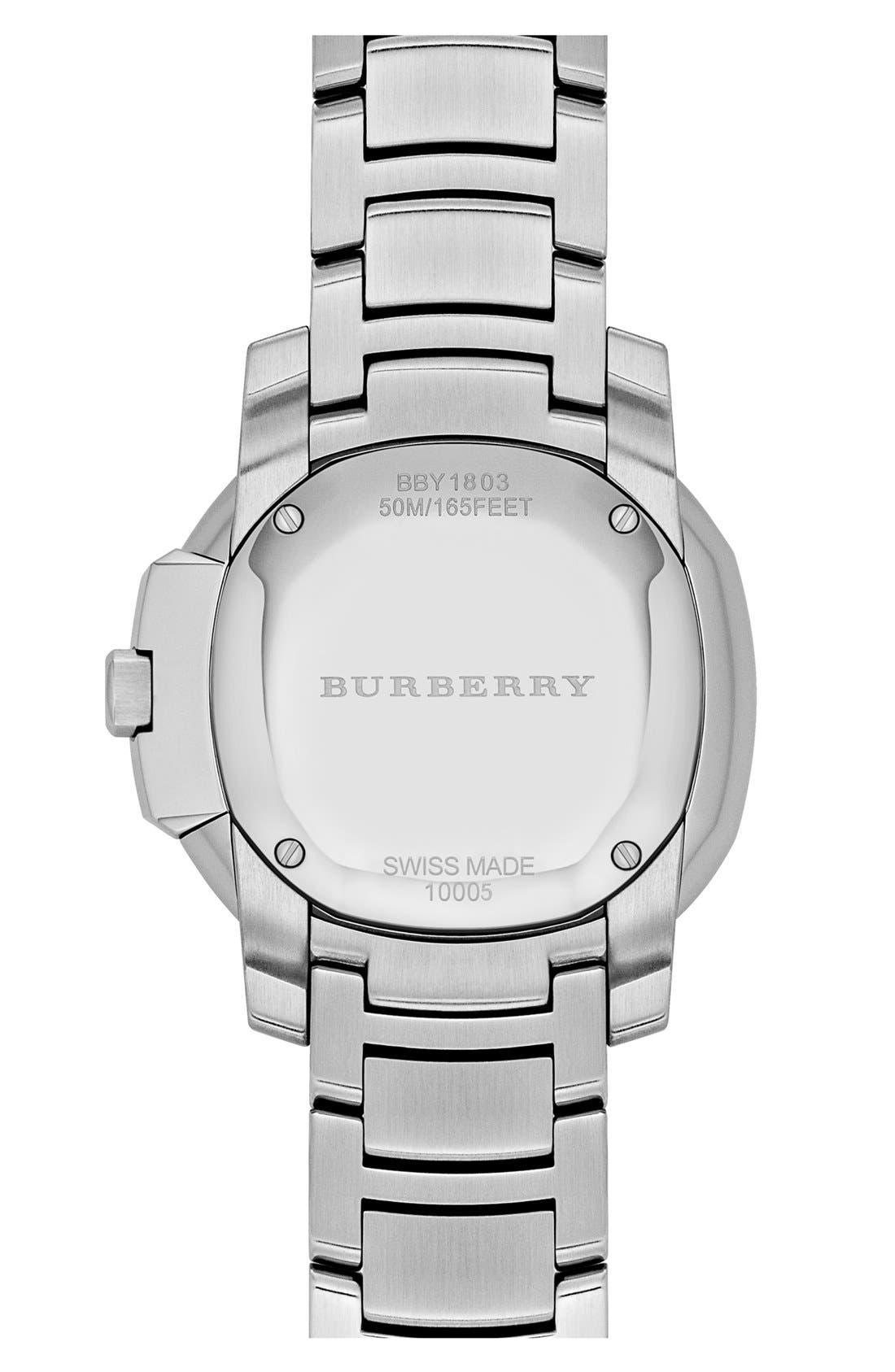Alternate Image 3  - Burberry The Britain Diamond Bezel Bracelet Watch, 34mm