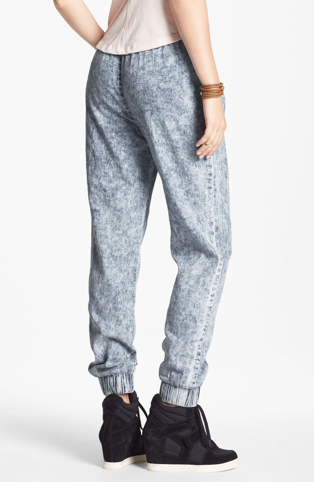Alternate Image 2  - Mimi Chica Acid Wash Chambray Jogging Pants (Juniors)