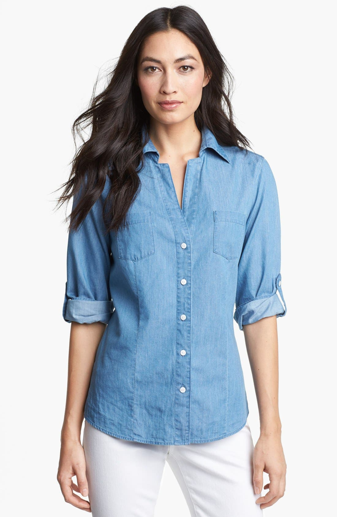 Main Image - Foxcroft Roll Sleeve Denim Shirt