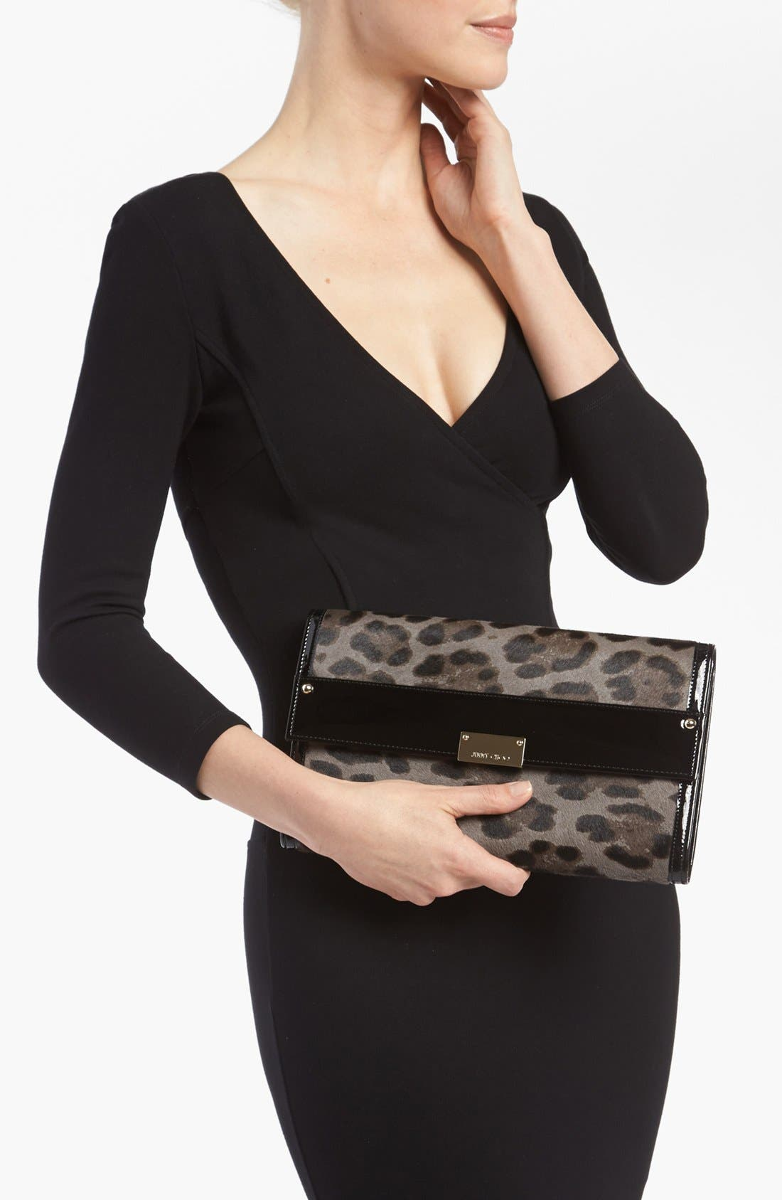 Alternate Image 2  - Jimmy Choo 'Reese - Extra Large' Leopard Print Calf Hair Clutch