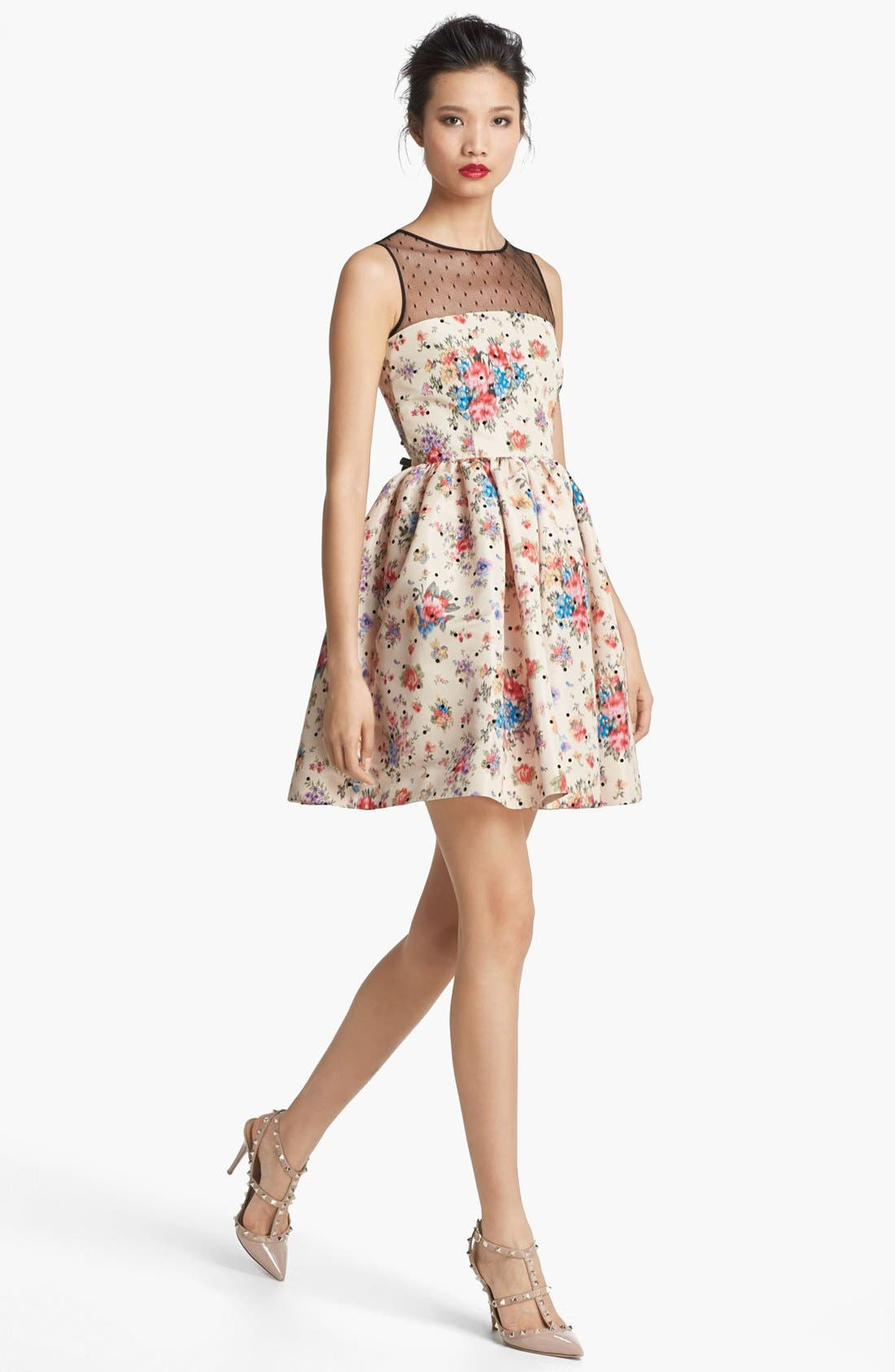 Alternate Image 1 Selected - RED Valentino Flower & Polka Dot Print Dress