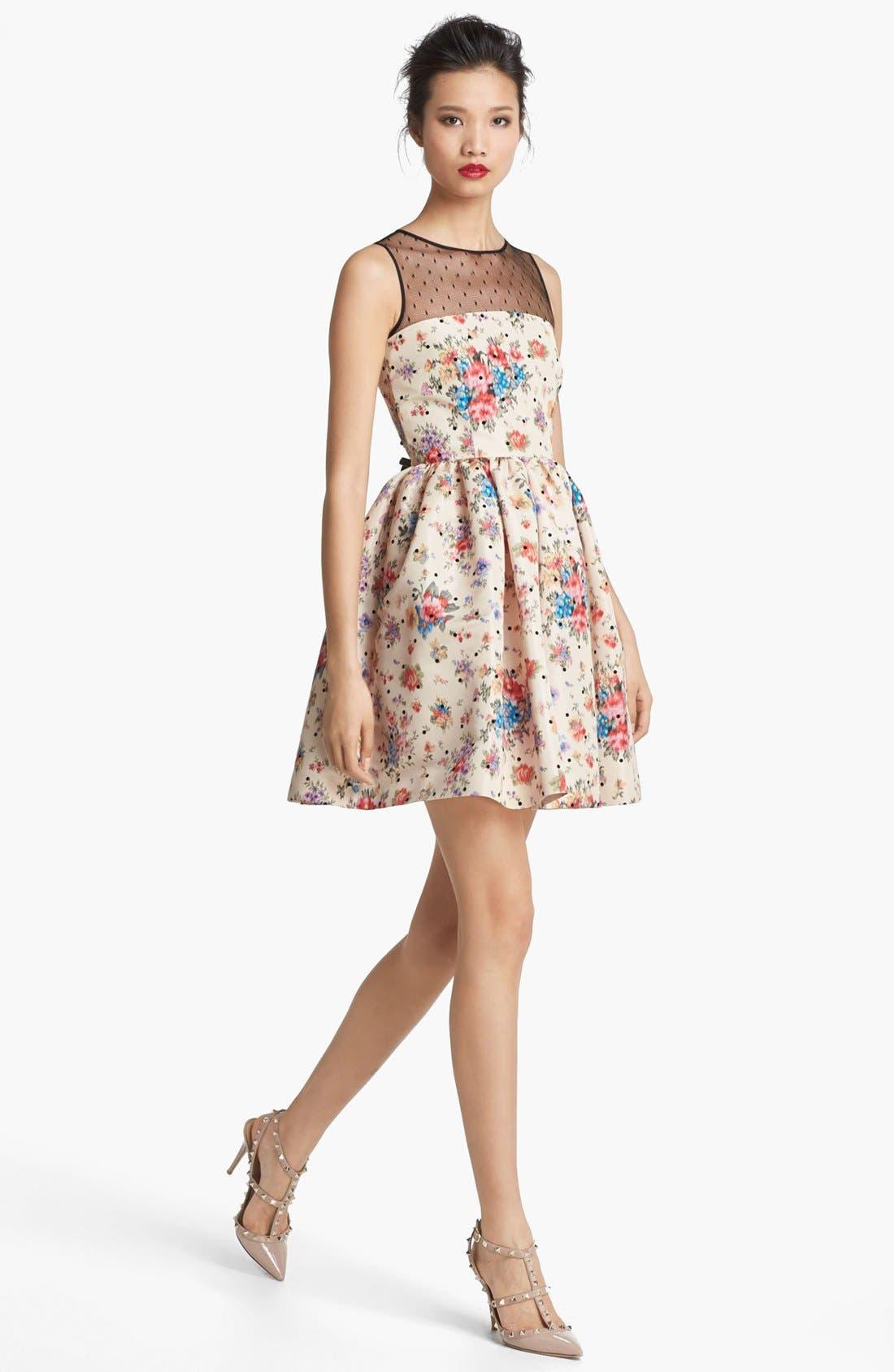 Main Image - RED Valentino Flower & Polka Dot Print Dress