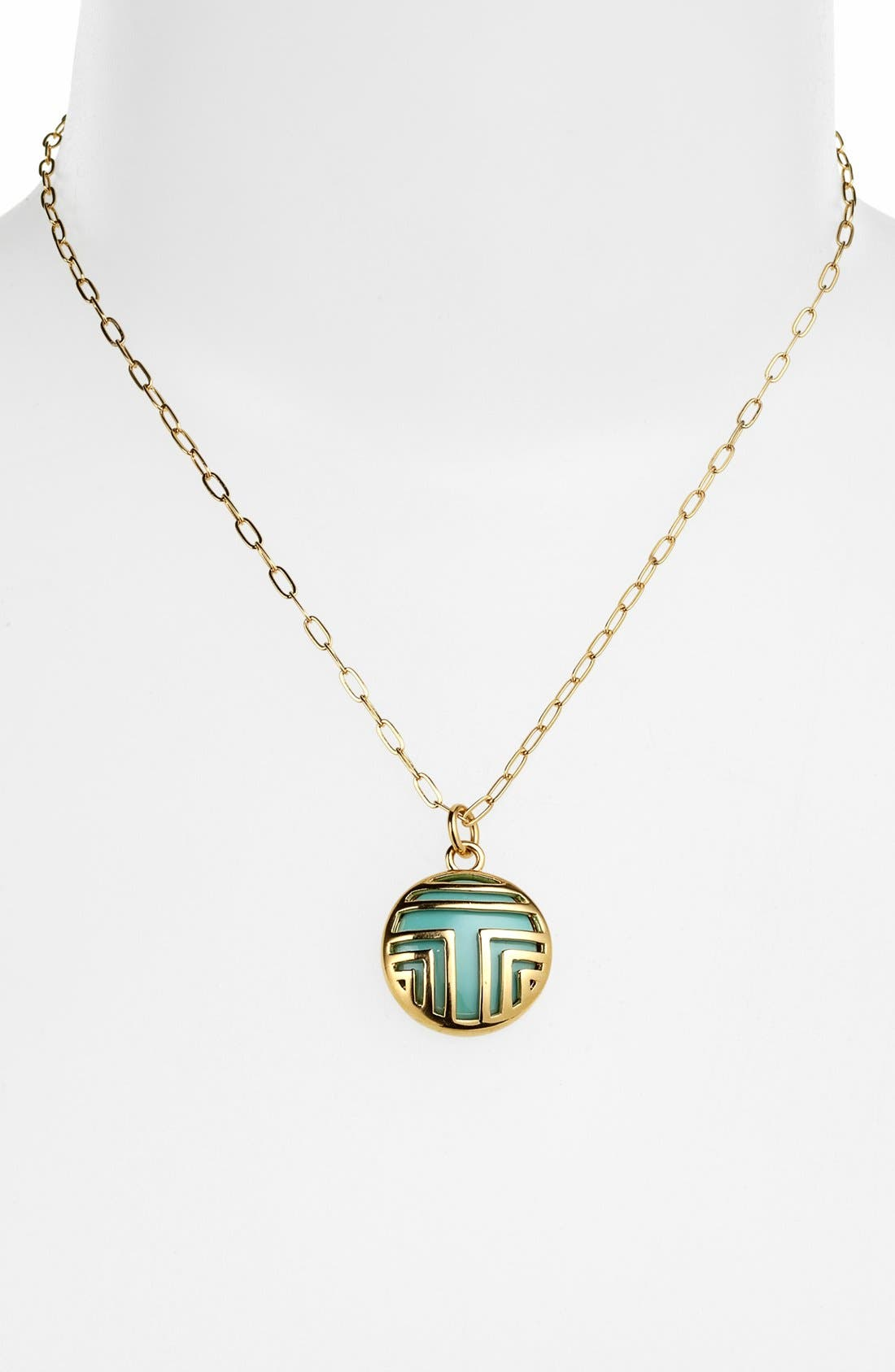 Main Image - Tory Burch 'Color Frete' Layered Logo Pendant Necklace