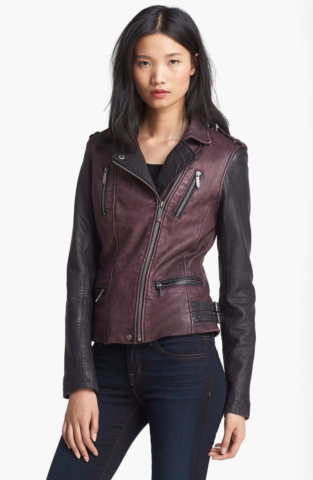 Alternate Image 1 Selected - MICHAEL Michael Kors Two Tone Washed Leather Jacket (Online Only)