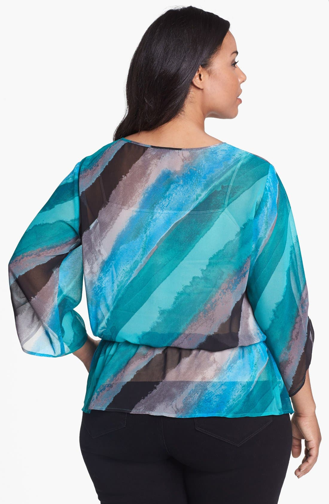 Alternate Image 2  - Sejour Print Chiffon Top (Plus Size)