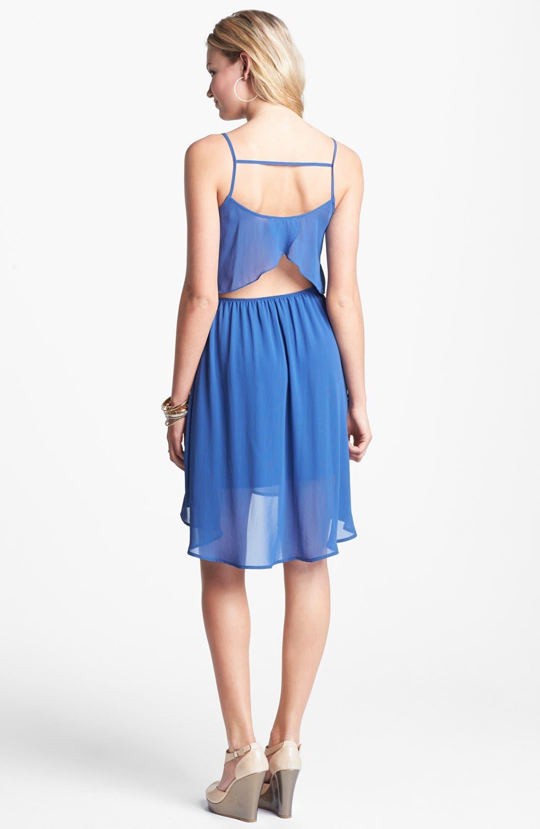 Main Image - Lush Cutout Ruffle Chiffon Dress (Juniors)