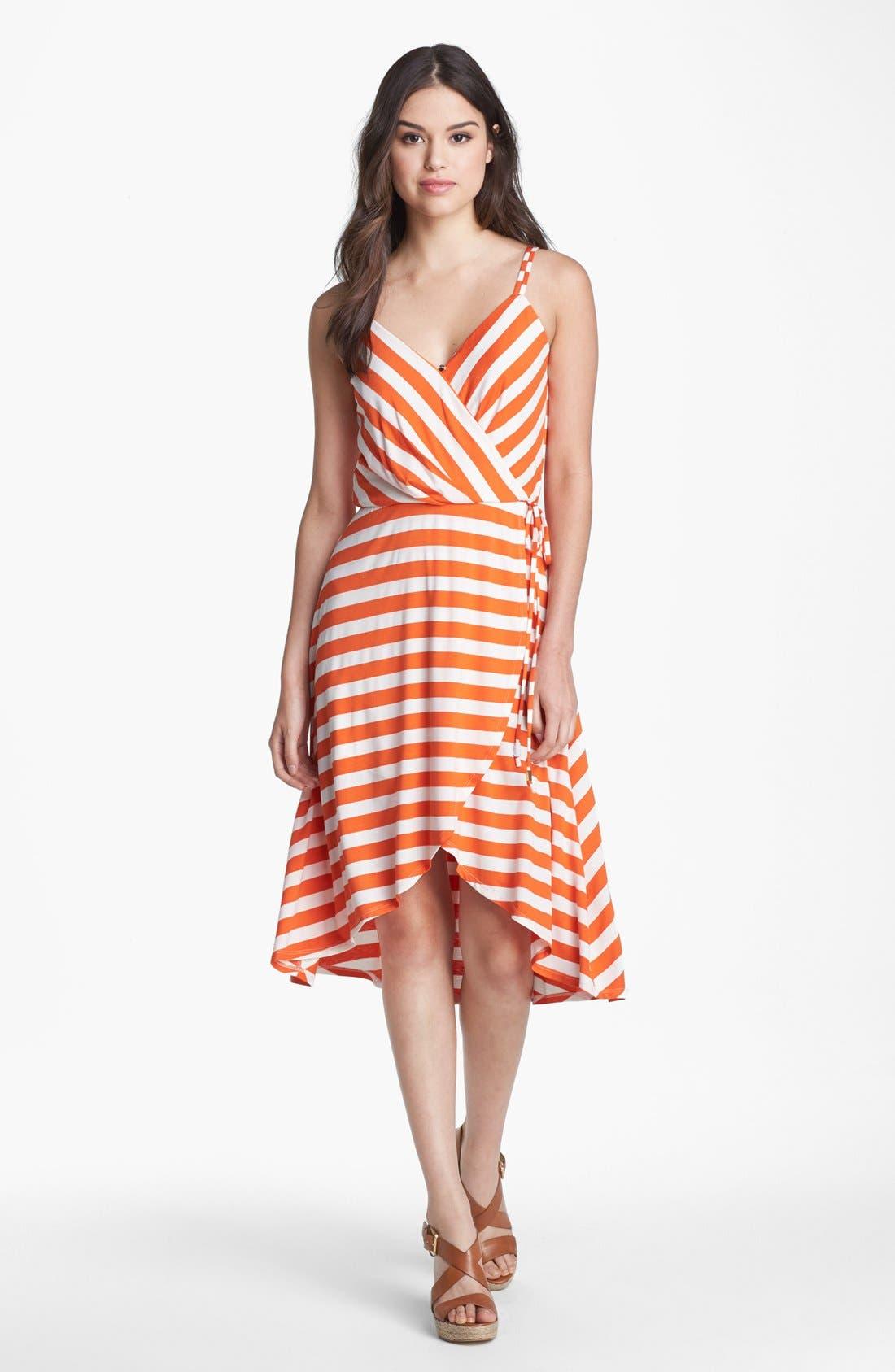 Main Image - Vince Camuto Stripe Faux Wrap Jersey Dress