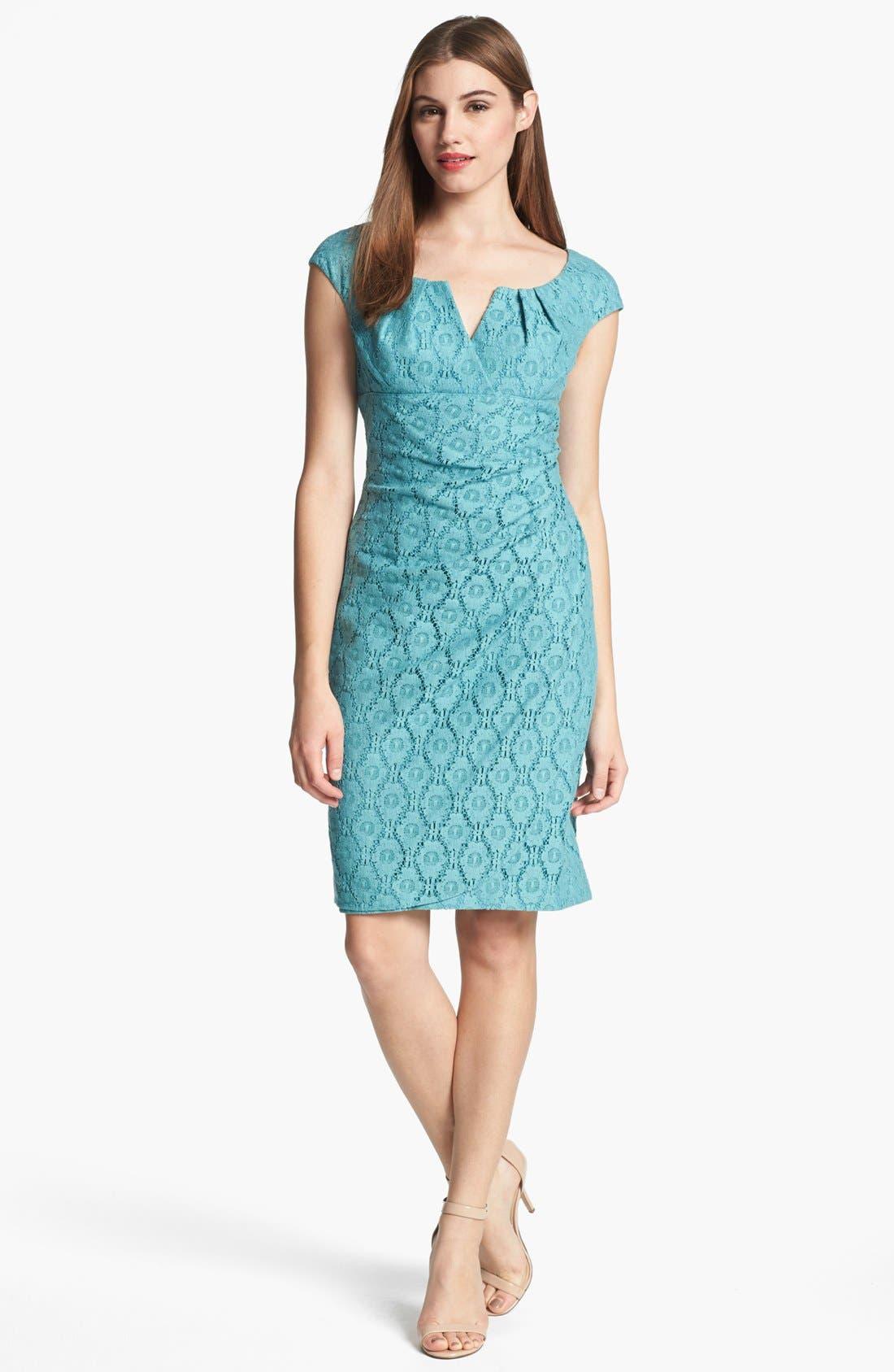 Alternate Image 1 Selected - Adrianna Papell Cap Sleeve Lace Sheath Dress