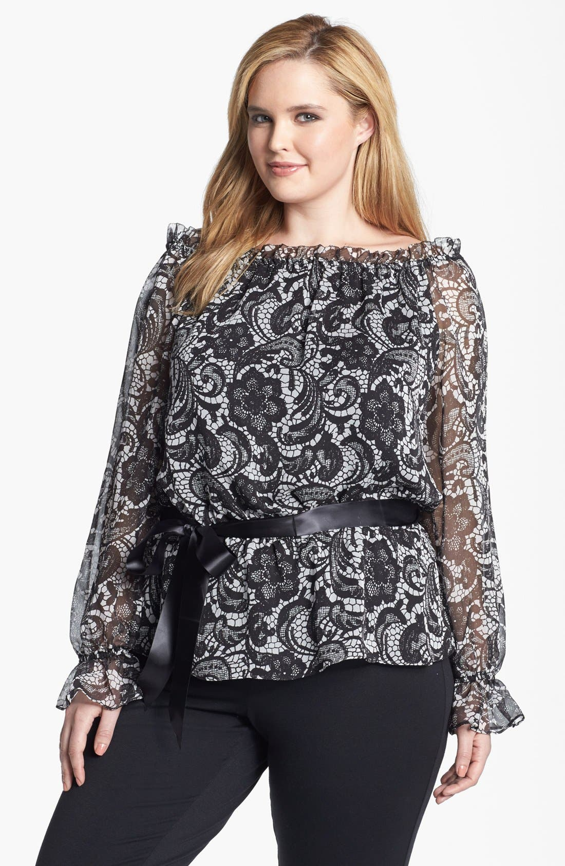 Alternate Image 1 Selected - Adrianna Papell Lace Print Blouse (Plus Size)
