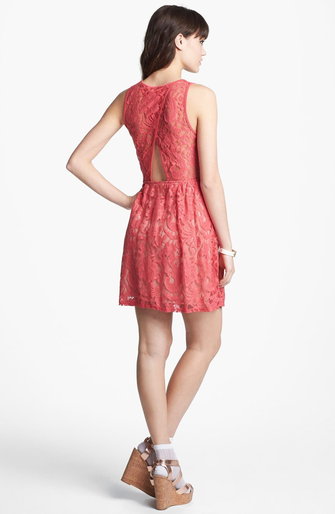 Main Image - Fire Back Cutout Lace Skater Dress (Juniors)