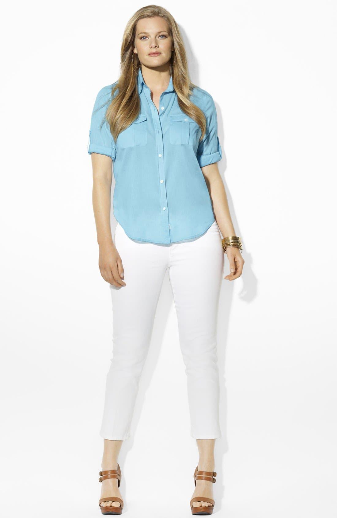 Alternate Image 2  - Lauren Ralph Lauren Cotton Work Shirt (Plus Size)