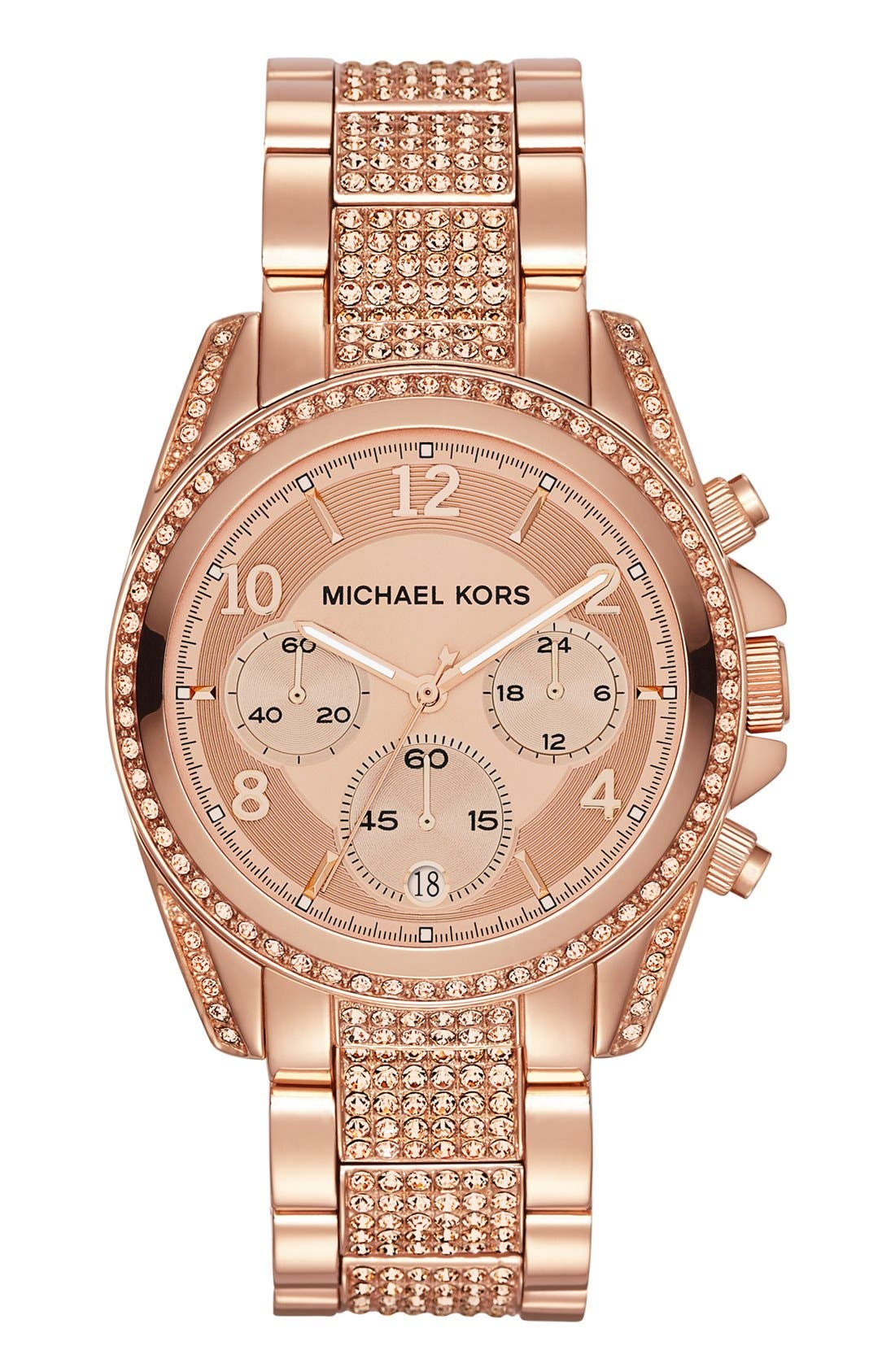 Alternate Image 1 Selected - Michael Kors 'Blair' Pavé Crystal Bracelet Watch, 39mm