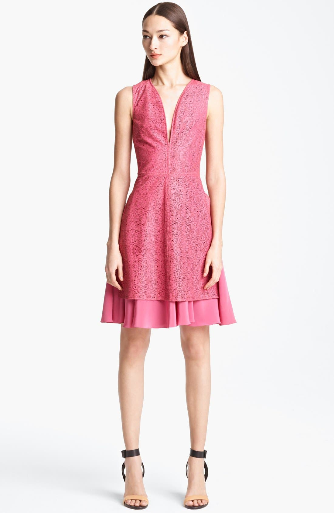 Alternate Image 1 Selected - Thakoon Laser Cut Leather Dress