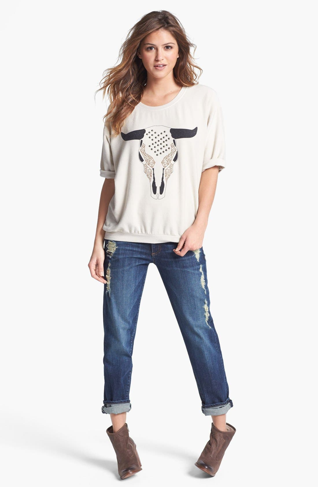 Main Image - Max & Mia Sweatshirt & KUT from the Kloth Boyfriend Jeans