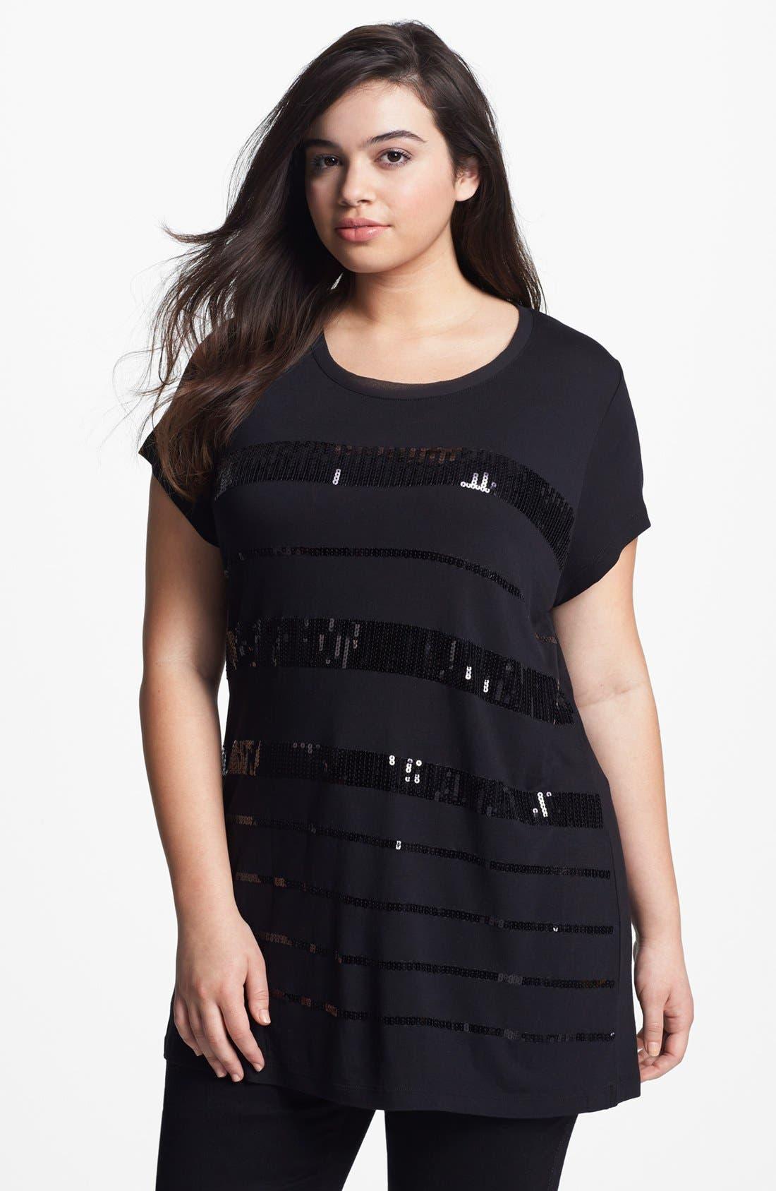 Main Image - Kische Sequin Stripe Tunic (Plus Size)