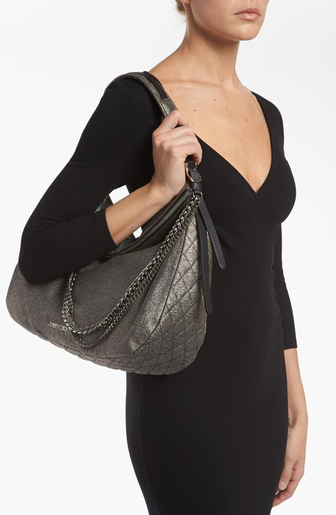 Alternate Image 2  - Jimmy Choo 'Large Boho' Metallic Suede Hobo