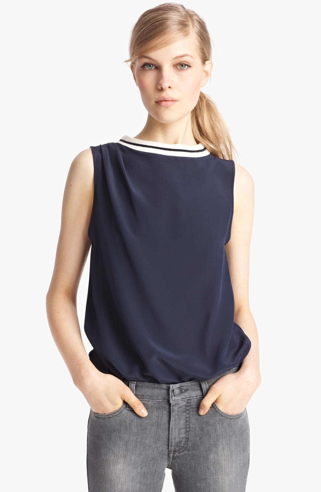 Alternate Image 1 Selected - Band of Outsiders Crêpe de Chine Tank