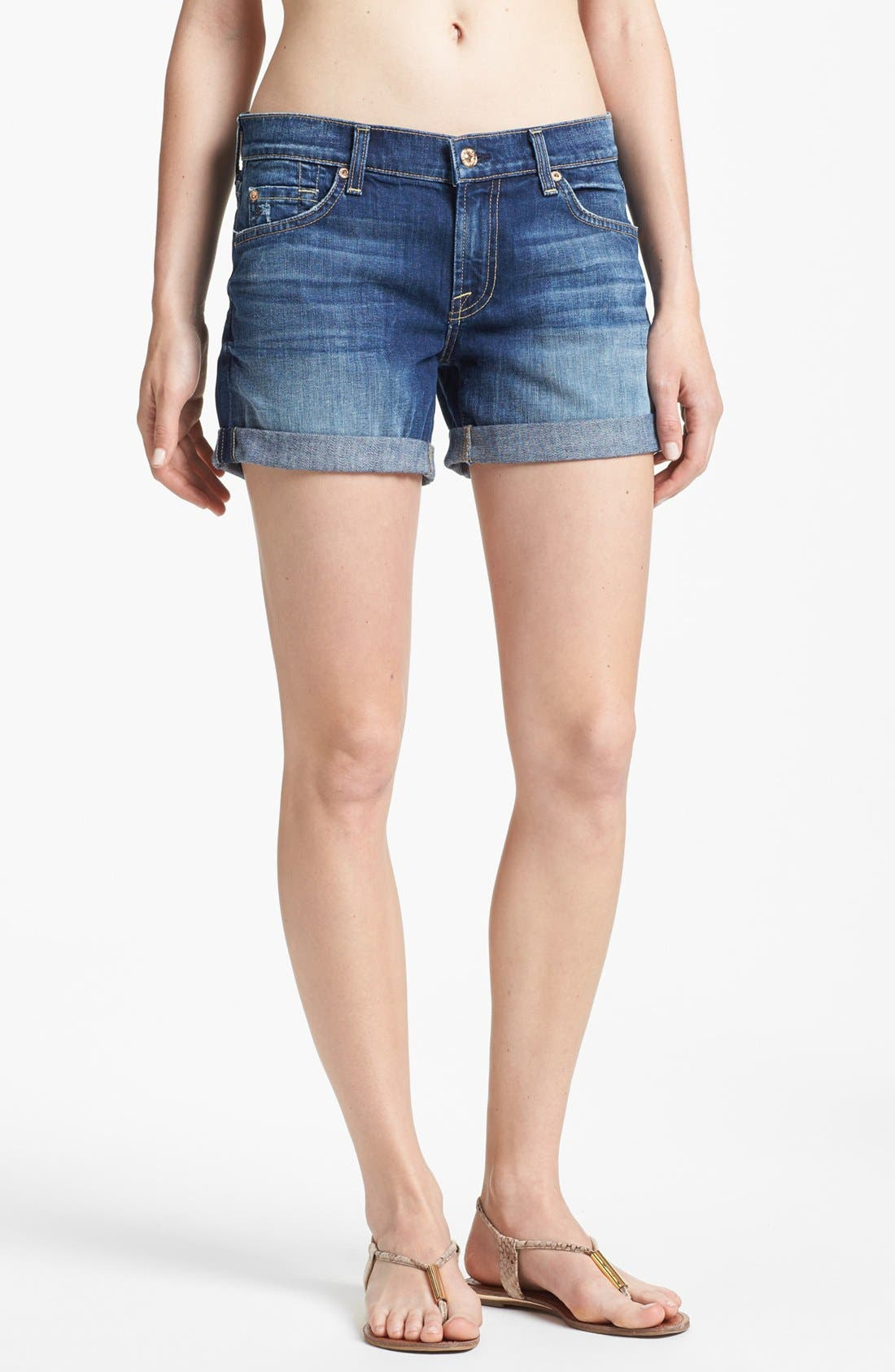 Main Image - 7 For All Mankind® Cuff Denim Shorts (Authentic Bright Blue)