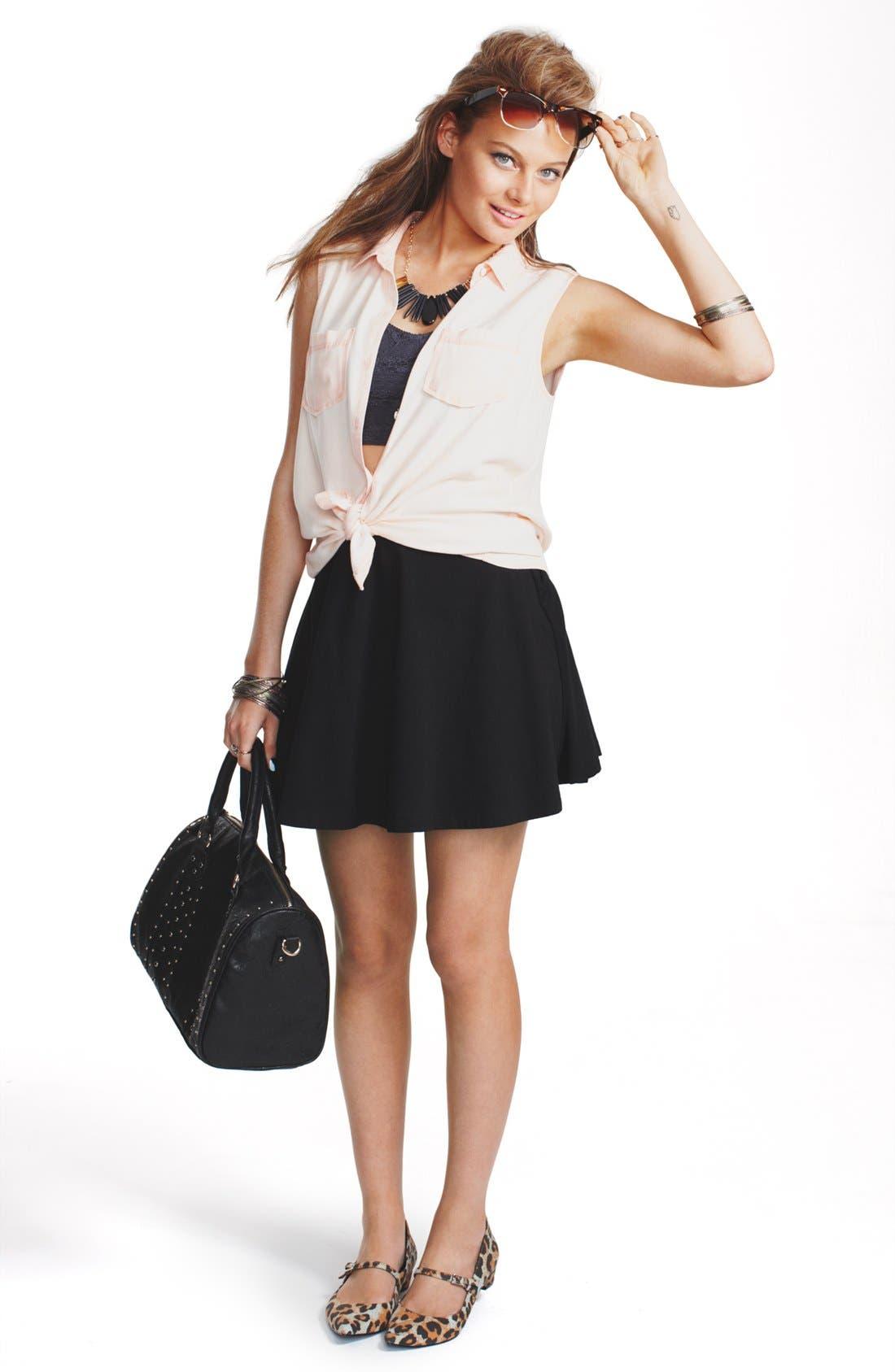 Alternate Image 1 Selected - Rubbish® Shirt, Frenchi® Bralette & Lily White Skater Skirt