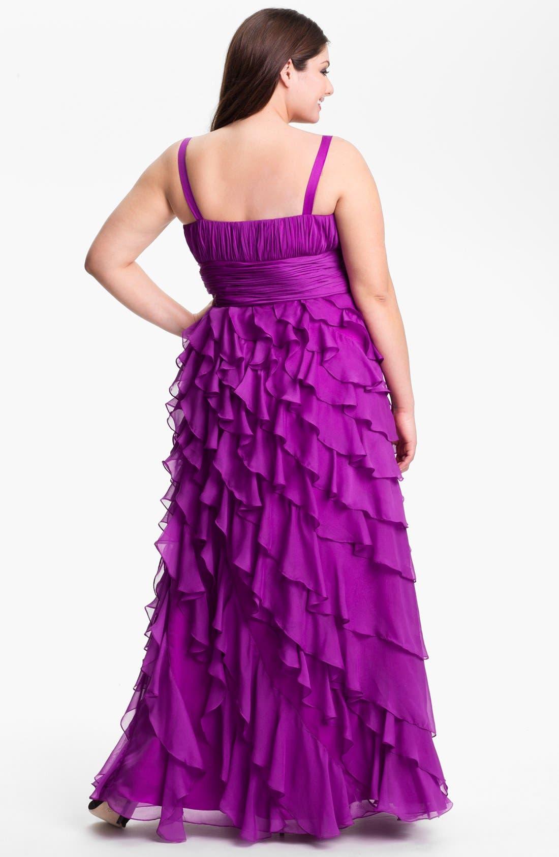 Alternate Image 2  - Dalia MacPhee Ruffled Chiffon Gown (Juniors Plus)