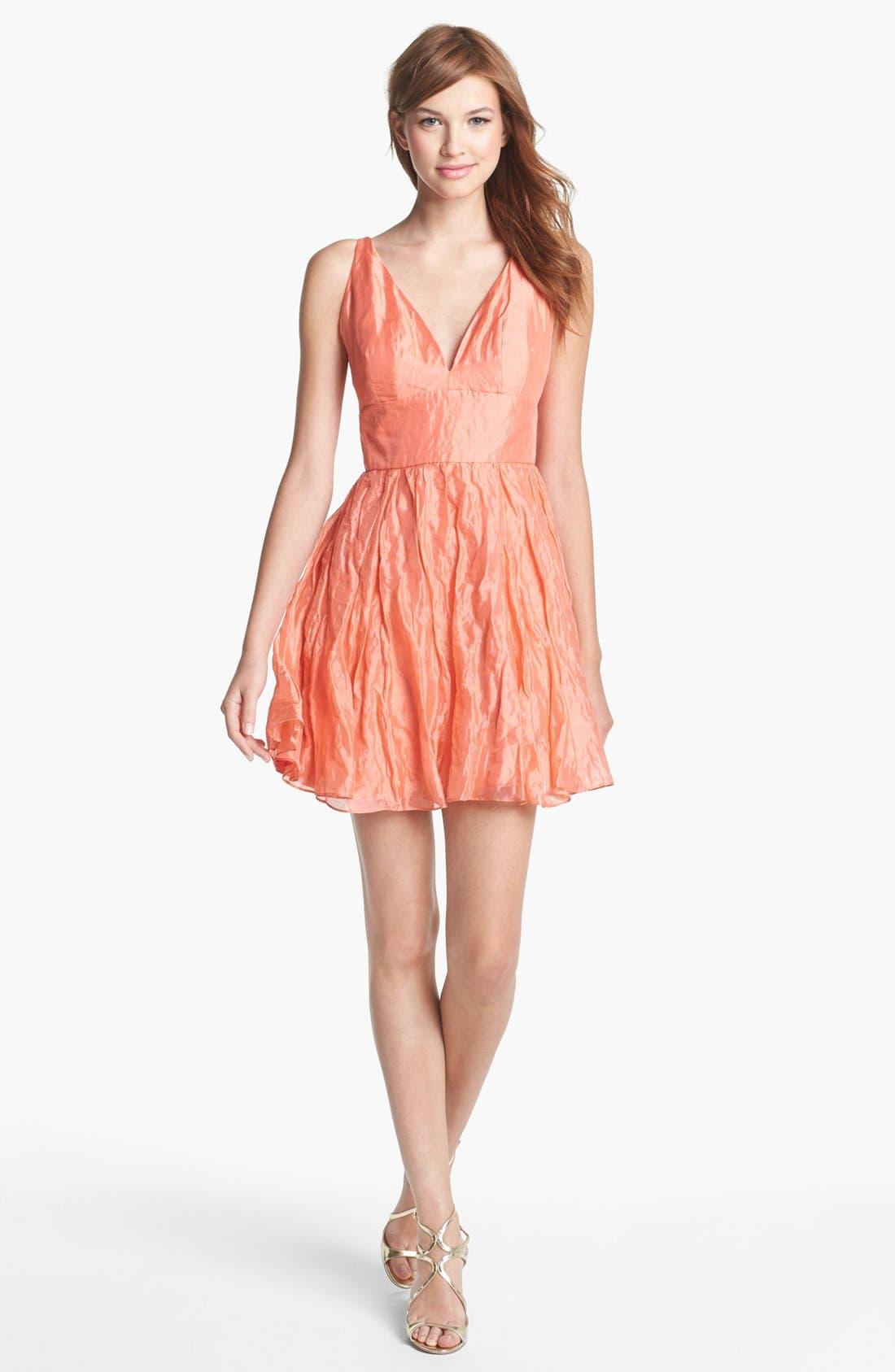 Alternate Image 1 Selected - Nicole Miller Metallic Silk Fit & Flare Dress