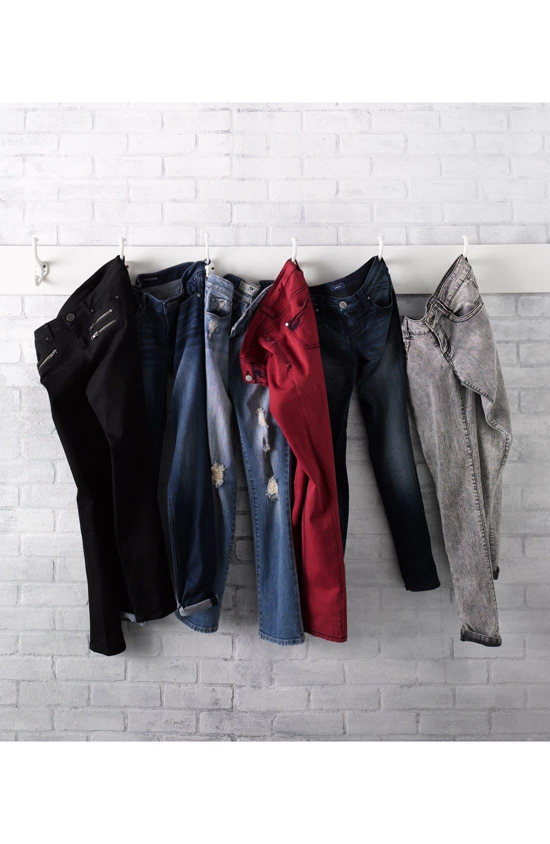 Alternate Image 5  - Jolt Acid Wash Skinny Jeans (Grey) (Juniors)
