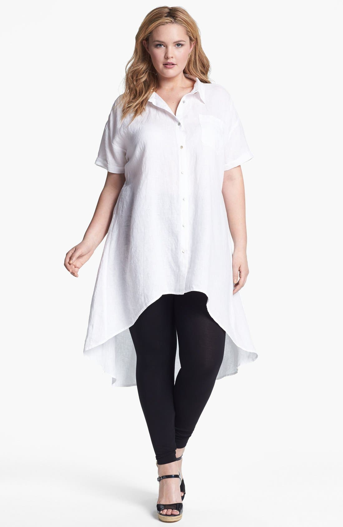 Main Image - Eileen Fisher High/Low Linen Tunic (Plus Size)