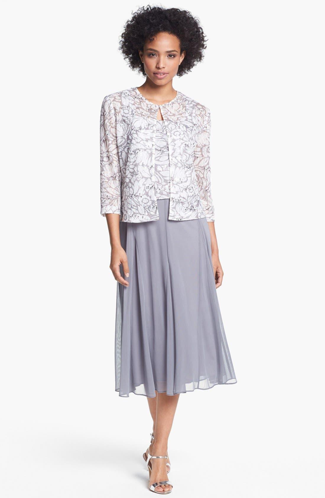 Main Image - Alex Evenings Embellished Mixed Media Dress & Jacket