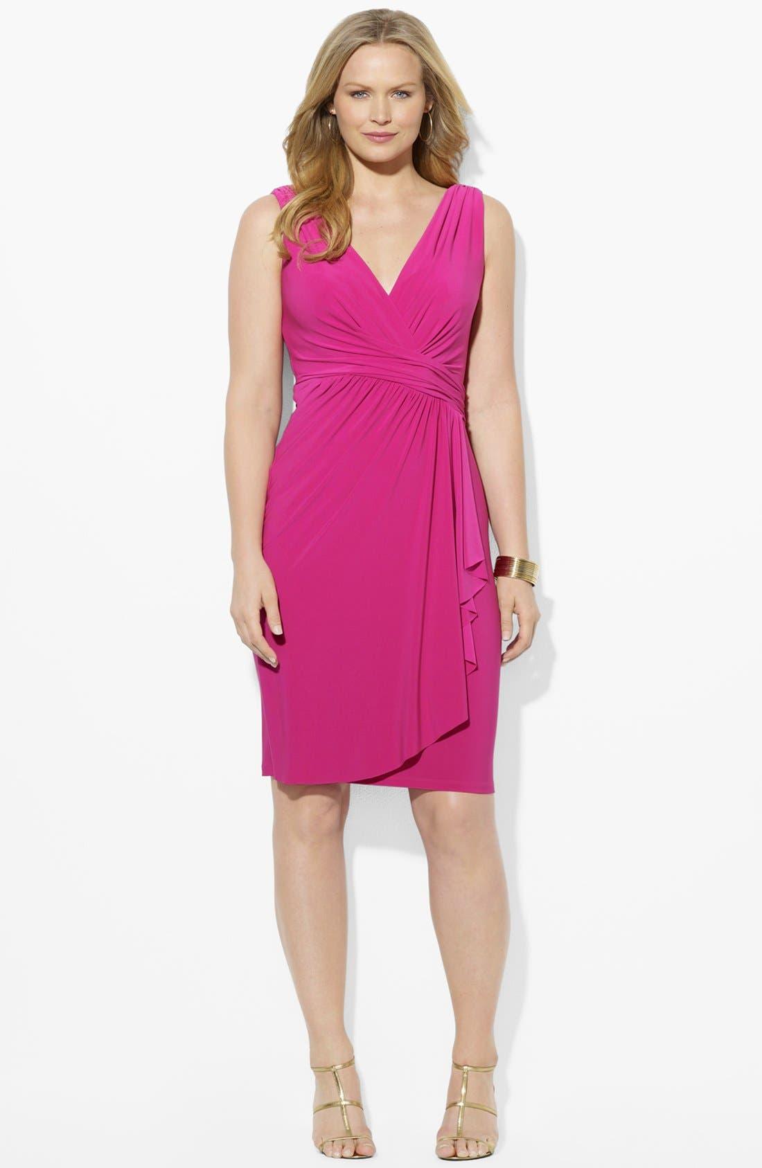 Main Image - Lauren Ralph Lauren Shirred Matte Jersey Dress (Plus Size)