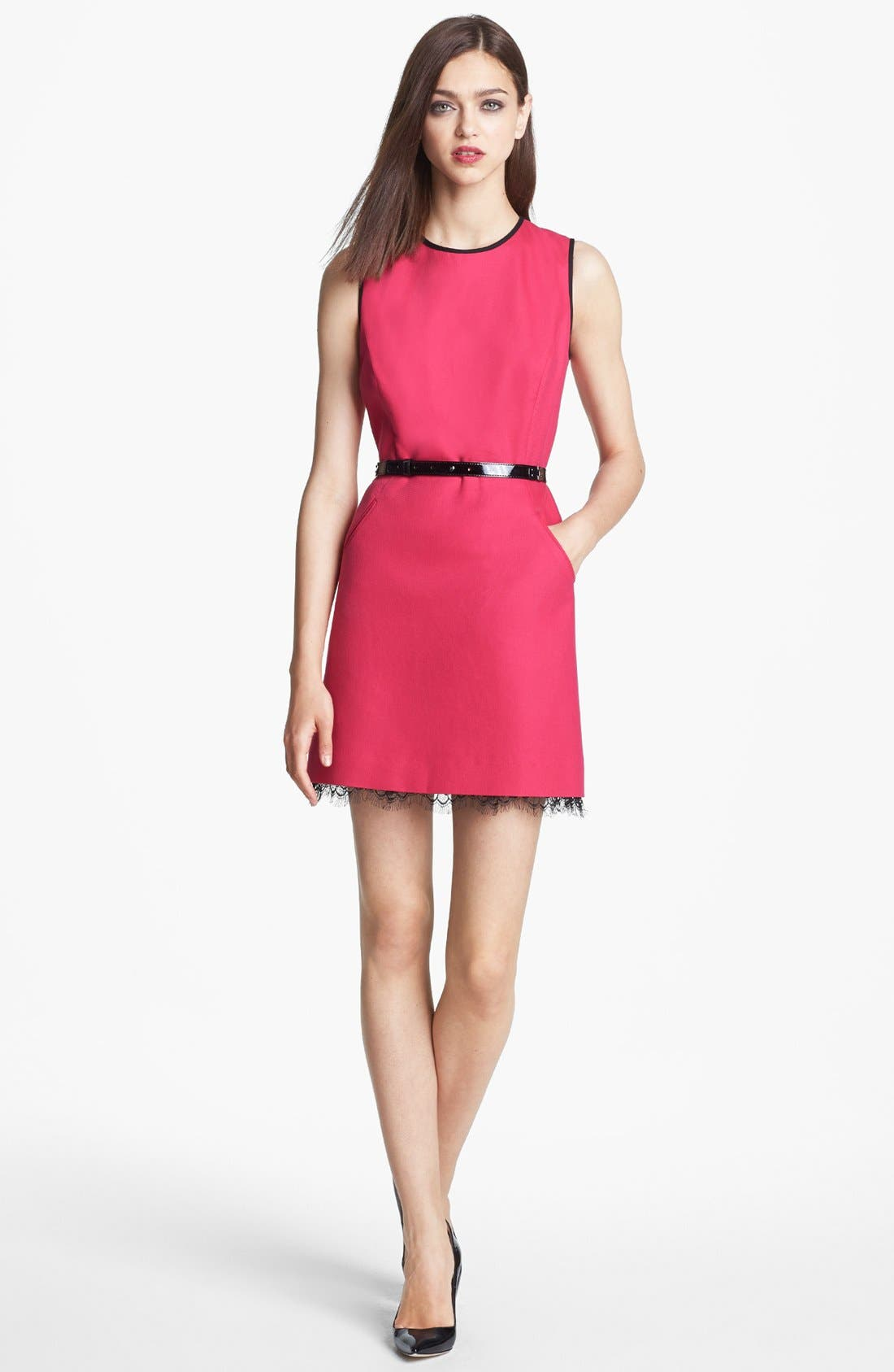 Alternate Image 1 Selected - Miss Wu Lace Hem Twill Dress (Nordstrom Exclusive)