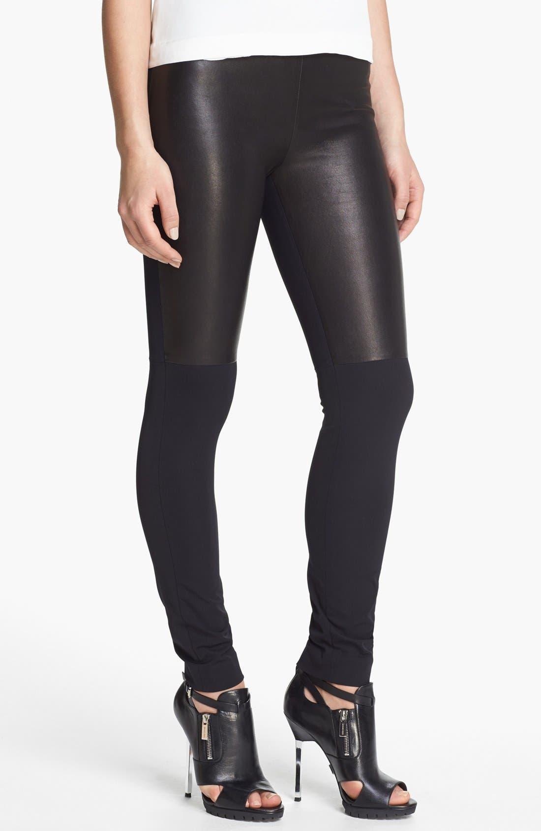 Main Image - Milly 'Bri' Leather Panel Leggings