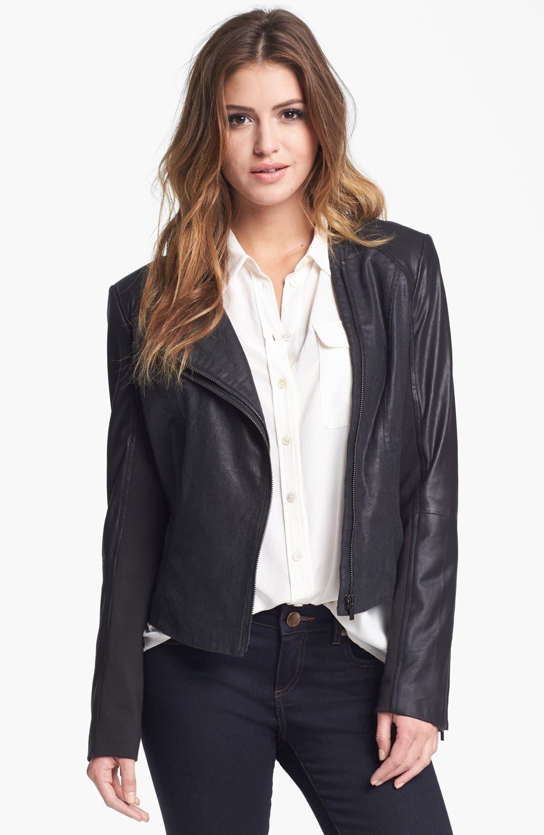 Alternate Image 4  - LaMarque Coated Moto Jacket with Leather Sleeves