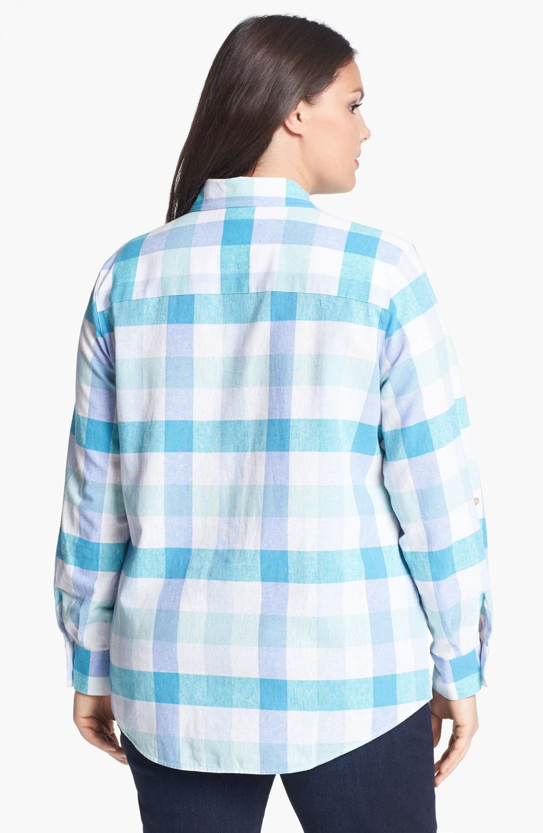 Alternate Image 2  - Foxcroft Gingham Shirt (Plus Size)