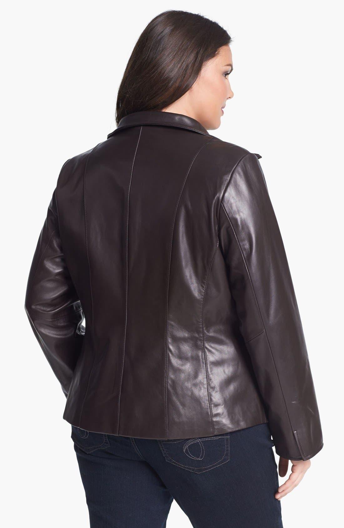 Alternate Image 2  - Ellen Tracy Zip Front Leather Scuba Jacket (Plus Size)