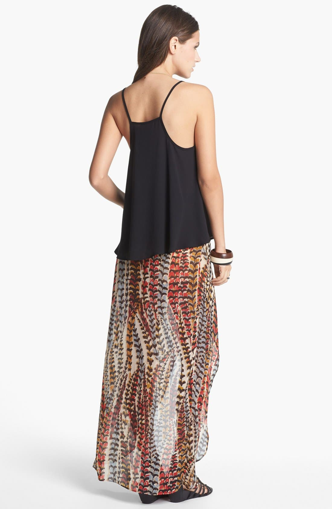 Alternate Image 2  - Mimi Chica High/Low Print Faux Wrap Skirt (Juniors)